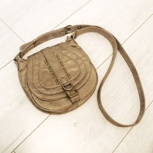 Matt & Nat vegan taupe crossbody saddle bag